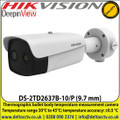 Hikvision thermographic bullet body temperature measurement camera with 9.7mm fixed lens , Temperature range: 30°C to 45°C - DS-2TD2637B-10/P