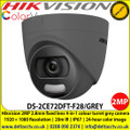Hikvision DS-2CE72DFT-F28/GREY (2.8mm) 2 MP fixed lens colour turret grey camera with 2.8mm lens, Up to 20m white light distance, IP67 weatherproof, 24-hour colour image, 130dB WDR, 4 in 1, TVI, CVI, AHD or Analogue camera