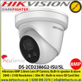 Hikvision AcuSense 8MP 2.8mm fixed lens Up to 30m IR distance Darkfighter turret network camera with IR, built-in speaker & alarm - DS-2CD2386G2-ISU/SL