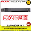 Hikvision 3MP 8 Channel 1 SATA Alarm Audio Over Coax DVR, H.265 Pro+/H.265 Pro/H.265 video compression, HDTVI/AHD/CVI/CVBS/IP video input - DS-7208HQHI-K1/A(S)