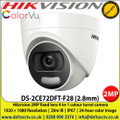 Hikvision 2MP 2.8mm fixed lens colour turret camera up to 20m white light distance, IP67 weatherproof, 24-hour colour image, 130dB WDR, 4 in 1, TVI, CVI, AHD or Analogue camera (DS-2CE72DFT-F28)