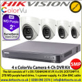 Hikvision 5MP ColorVu Camera DVR Kit The kit consists of 1 x DS-7204HUHI-K1/P, 4 x DS-2CE72HFT-F, 2TB WD purple hard drive, 1 x power supply, 4 x 20m BNC cable