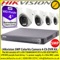 Hikvision 5MP ColorVu Camera Kit with 4-Channel DVR, The kit consists of 1 x DS-7204HUHI-K1/P, 4 x DS-2CE72HFT-F, 4TB WD purple hard drive, 1 x power supply, 4 x 20m BNC cable