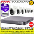 Hikvision 5MP ColorVu Camera Kit with 8-Channel DVR, The kit consists of 1 x DS-7208HUHI-K2/P, 8 x DS-2CE72HFT-F, 6TB WD purple hard drive, 1 x power supply, 8 x 20m BNC cable