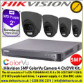 Hikvision 5MP ColorVu Camera DVR Kit The kit consists of 1 x DS-7204HUHI-K1/P, 4 x DS-2CE72HFT-F28/Grey  2TB WD purple hard drive, 1 x power supply, 4 x 20m BNC cable
