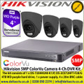 Hikvision 5MP ColorVu Camera DVR Kit The kit consists of 1 x DS-7204HUHI-K1/P, 4 x DS-2CE72HFT-F28/Grey  4TB WD purple hard drive, 1 x power supply, 4 x 20m BNC cable