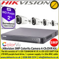 Hikvision 5MP ColorVu Camera DVR Kit The kit consists of 1 x DS-7204HUHI-K1/P, 4 x DS-2CE12HFT-F28 2TB WD purple hard drive, 1 x power supply, 4 x 20m BNC cable