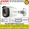 Hikvision DS-2CE10DFT-F28 (2.8 mm) 2 MP ColorVu Fixed Lens Mini Bullet Camera | IP67 | Up to 20 m white light distance | 1920 x 1080 Resolution | TVI/AHD/CVI/CVBS | Full color imaging