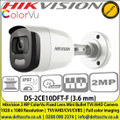 Hikvision DS-2CE10DFT-F (3.6 mm) 2 MP ColorVu Fixed Lens Mini Bullet Camera | IP67 | Up to 20 m white light distance | 1920 x 1080 Resolution | TVI/AHD/CVI/CVBS | Full color imaging