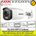 Hikvision DS-2CE12DFT-F (2.8mm) 2MP fixed lens 40m IR IP67 full time color TVI/ CVI/ AHD Bullet Camera