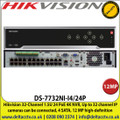Hikvision 32 Channel 1.5U 24 PoE 4K NVR, Up to 32 channel IP cameras can be connected, 4 SATA, 12 MP high-definition - DS-7732NI-I4/24P
