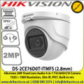 Hikvision 2MP Fixed Lens Audio 4-in-1 TVI/AHD/CVI Camera 1920 × 1080 Resolution, 30m IR, IP67, Built-in mic - DS-2CE76D0T-ITMFS (2.8mm )