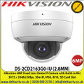 Hikvision DS-2CD2163G0-IU (2.8MM) 6MP Fixed Lens Dome IP Camera with Build-in Mic 3072 × 2048@30fps, 30m IR, IP66, IK10, Built-in micro SD/SDHC/SDXC card slot