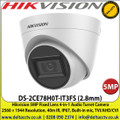 Hikvision 5MP Fixed Lens Audio Turret Camera, 40m IR, IP67, Built-in mic,  4 in 1 video output (switchable TVI/AHD/CVI/CVBS) - DS-2CE78H0T-IT3FS (2.8mm)