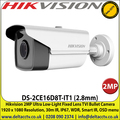 Hikvision DS-2CE16D8T-IT1 (2.8mm) 2MP Ultra Low-Light Fixed Lens TVI Bullet Camera 1920 x 1080 Resolution, 30m IR, IP67, WDR, Smart IR, OSD menu