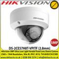 Hikvision DS-2CE57H8T-VPITF 5MP Ultra Low Light Vandal 2.8mm Fixed Lens Dome Camera 2560 × 1944 Resolution, 30m IR, IP67, IK10, TVI/AHD/CVI/CVBS