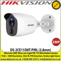 Hikvision 2MP Ultra Low-Light PIR  TVI Mini Bullet Camera 1920 × 1080 Resolution, 30m IR, PIR Detection, Strobe Light Alarm - DS-2CE11D8T-PIRL (2.8mm)
