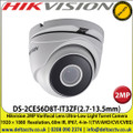Hikvision DS-2CE56D8T-IT3ZF 2MP 2.7-13.5mm Varifocal Lens Auto Focus Ultra-Low Light 4 in 1 TVI/AHD/CVI/CVBS Turret Camera, Smart IR 60m IR Distance, IP67 Weatherproof
