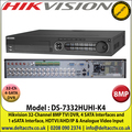Hikvision - 32 Channel 8MP Ultra HD Hybrid Turbo 4.0 DVR, HDTVI/AHD/IP & Analogue Cameras Video Input, 4 SATA Interfaces and 1 eSATA Interface, H.265 Pro+/H.265 Pro/H.265 Video Compression - DS-7332HUHI-K4