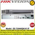Hikvision - 4 Channel 2MP TVI Turbo 4.0 PoC DVR, Self-adaptive Normal Camera & Hikvision PoC Camera Connection, 1 SATA Interface, H.265+/H.265/H.264+/H.264 Video Compression -  DS-7204HQHI-K1/P