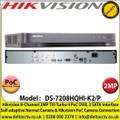 Hikvision - 8 Channel 2MP TVI Turbo 4.0 PoC DVR, Self-adaptive Normal Camera & Hikvision PoC Camera Connection, 2 SATA Interface, H.265+/H.265/H.264+/H.264 Video Compression -   DS-7208HQHI-K2/P