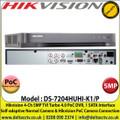 Hikvision - 4 Channel 5MP TVI Turbo 4.0 PoC DVR, Self-adaptive Normal Camera & Hikvision PoC Camera Connection, 1 SATA Interface, H.265+/H.265/H.264+/H.264 Video Compression - DS-7204HUHI-K1/P