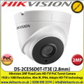 Hikvision 2MP 2.8mm Fixed Lens HD-TVI PoC Turret Camera, 40m IR Distance, IP66 Weatherproof, True Day/Night, Smart IR, EXIR 2.0 - DS-2CE56D0T-IT3E