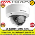 Hikvision 2MP 6mm Fixed Lens Ultra-Low Light HD-TVI PoC Dome Camera, 20m IR Distance, IP67 Weatherproof, True Day/Night, Smart IR, EXIR - DS-2CE56D8T-VPITE