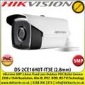 Hikvision - 5MP 2.8mm Fixed Lens HD-TVI PoC Bullet Camera, 40m IR Distance, IP67 Weatherproof, Digital WDR, Smart IR, EXIR, True Day/Night - DS-2CE16H0T-IT3E