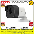 Hikvision - 5MP 2.8mm Fixed Lens Ultra-Low Light HD-TVI PoC Bullet Camera, 20m IR Distance, IP67 Weatherproof, Digital WDR, Smart IR, EXIR, True Day/Night - DS-2CE16H5T-ITE