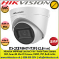 Hikvision - 5MP 2.8mm Fixed Lens AoC 4-in-1 Audio Turret Camera, Switchable TVI/AHD/CVI/CVBS, 40m IR Distance, IP67 Weatherproof, Smart IR, True Day/Night, Audio Over Coaxial Cable, Built-in Mic - DS-2CE78H0T-IT3FS