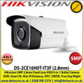 Hikvision - 5MP 2.8mm Fixed Lens 4-in-1 Bullet Camera, Switchable TVI/AHD/CVI/CVBS, 40m IR Distance, IP67 Weatherproof, DWDR, EXIR, Smart IR - DS-2CE16H0T-IT3F