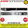 Hikvision - 16 Channel NVR with 8 MP Resolution, 16 Power-over-Ethernet (PoE) Interfaces, 2 SATA Interface, HDMI and VGA Output, Supports Decoding H.265+/H.265/H.264+/H.264 video formats - DS-7616NI-K2/16P