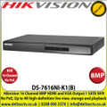 Hikvision - 16 Channel NVR with 8 MP Resolution, No PoE, 1 SATA Interface, HDMI and VGA Output, Supports Decoding H.265+/H.265/H.264+/H.264 video Formats - DS-7616NI-K1(B)