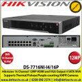 Hikvision - 16 Channel NVR with 12 MP Resolution, 16 Power-over-Ethernet (PoE) Interfaces, 4 SATA Interface, HDMI and VGA Output, Supports H.265/H.264/MPEG4 Video Formats, Supports Thermal Camera/Fisheye/People counting/ANPR - DS-7716NI-I4/16P