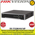 Hikvision - 32 Channel NVR with 8 MP Resolution, 16 Power-over-Ethernet (PoE) Interfaces, 4 SATA Interface, HDMI & VGA Output, Supports H.265/H.264/MPEG4 Video Formats, Supports Thermal Camera/Fisheye/People counting/Heatmap/ANPR - DS-7732NI-K4/16P