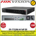 Hikvision - 32 Channel NVR with 12 MP Resolution, 16 Power-over-Ethernet (PoE) Interfaces, 4 SATA Interface, HDMI & VGA, Supports H.265+/H.264/MPEG4 Video Formats, Supports Thermal Camera/Fisheye/People counting/Heatmap/ANPR - DS-7732NI-I4/16P(B)