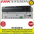 Hikvision - 32 Channel NVR with 12 MP Resolution, No PoE, 8 SATA Interface, 2 x HDMI & 2 x VGA  Interfaces, Supports H.265/H.264/MPEG4 Video Formats, Supports Specialist Cameras Including People Counting,ANPR, Fisheye - DS-9632NI-I8