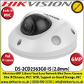 Hikvision 6MP 2.8mm Fixed Lens PoE IP Network Mini Dome Camera, 10m IR Distance, IP66 Weatherproof,  WDR, Support SD/SDHC/SDXC Card Slot, Built in Microphone & Alarm I/O - DS-2CD2563G0-IS