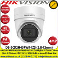 Hikvision 4MP 2.8-12mm Motorized Varifocal Lens Darkfighter PoE IP Network Turret Camera, 30m IR Distance, IP67 Weatherproof, WDR, H.265+ Compression, Built-in micro SD/SDHC/SDXC Card Slot, Audio Line in & Alarm I/O, IK10 - DS-2CD2H45FWD-IZS