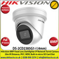 Hikvision 8MP 4mm Fixed Lens Darkfighter PoE IP Network Turret Camera, 30m IR Distance, IP67 Weatherproof, WDR, H.265+ Compression, Built-in micro SD/SDHC/SDXC Card Slot - DS-2CD2385G1-I
