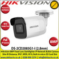 Hikvision 8MP 2.8mm Fixed Lens Darkfighter PoE IP Network Bullet Camera, 30m IR Distance, IP67 Weatherproof, WDR, H.265+ Compression, Built-in micro SD/SDHC/SDXC Card Slot, IK10 - DS-2CD2085G1-I