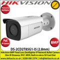 Hikvision 8MP 2.8mm Fixed Lens Darkfighter PoE IP Network Bullet Camera, 50m IR Distance, IP67 Weatherproof, WDR, H.265+ Compression, Built-in micro SD/SDHC/SDXC Card Slot - DS-2CD2T85G1-I5