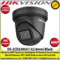 Hikvision 8MP 2.8mm Fixed Lens Darkfighter PoE IP Network Black Turret Camera, 30m IR Distance, IP67 Weatherproof, WDR, H.265+ Compression, Built-in micro SD/SDHC/SDXC Card Slot - DS-2CD2385G1-I/B