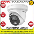 Hikvision 4MP 4mm Fixed Lens ColorVu IP PoE Network Turret Camera, 30m White Light Distance, IP66 Weatherproof, 120dB WDR, H.265+ Compression, Built-in micro SD/SDHC/SDXC Card Slot, 24/7 Full Color Imaging, Built in Microphone - DS-2CD2347G1-LU