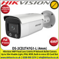 Hikvision 4MP 4mm Fixed Lens ColorVu IP PoE Network Bullet Camera, 30m White Light Distance, IP66 Weatherproof, 120dB WDR, H.265+ Compression, Built-in micro SD/SDHC/SDXC Card Slot, 24/7 Full Color Imaging-DS-2CD2T47G1-L