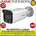 Hikvision 4MP 2.8mm Fixed Lens ColorVu IP PoE Network Bullet Camera, 30m White Light Distance, IP66 Weatherproof, 120dB WDR, H.265+ Compression, Built-in micro SD/SDHC/SDXC Card Slot, 24/7 Full Color Imaging-DS-2CD2T47G1-L