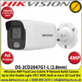 Hikvision 4MP 2.8mm Fixed Lens ColorVu IP PoE Network Bullet Camera, 30m White Light Distance, IP67 Weatherproof, 120dB WDR, H.265+ Compression, Built-in micro SD/SDHC/SDXC Card Slot, 24/7 Full Color Imaging-DS-2CD2047G1-L
