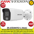 Hikvision 4MP 4mm Fixed Lens ColorVu IP PoE Network Bullet Camera, 30m White Light Distance, IP67 Weatherproof, 120dB WDR, H.265+ Compression, Built-in micro SD/SDHC/SDXC Card Slot, 24/7 Full Color Imaging-DS-2CD2047G1-L