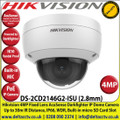 Hikvision - 4MP 2.8mm Fixed Lens AcuSense Darkfighter Indoor IP PoE Network Dome Camera, 30m IR Distance, IP66, WDR, H.265+, Built-in micro SD/SDHC/SDXC Card Slot, Face Capture, Smart Motion Detection, Built-in Microphone - DS-2CD2146G2-ISU